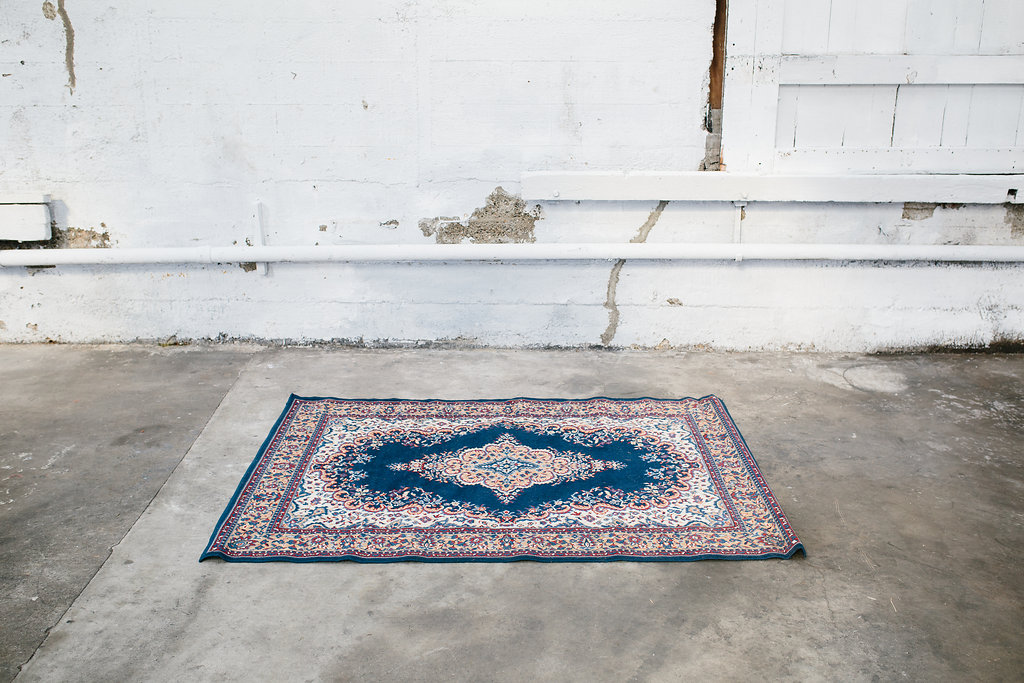 Blue Persian Rug - Two Foxes - Modern