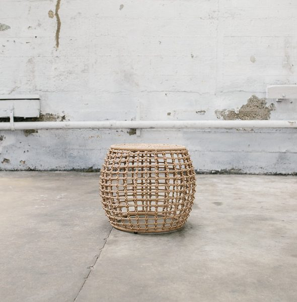 Natural Rattan Checked Side Table