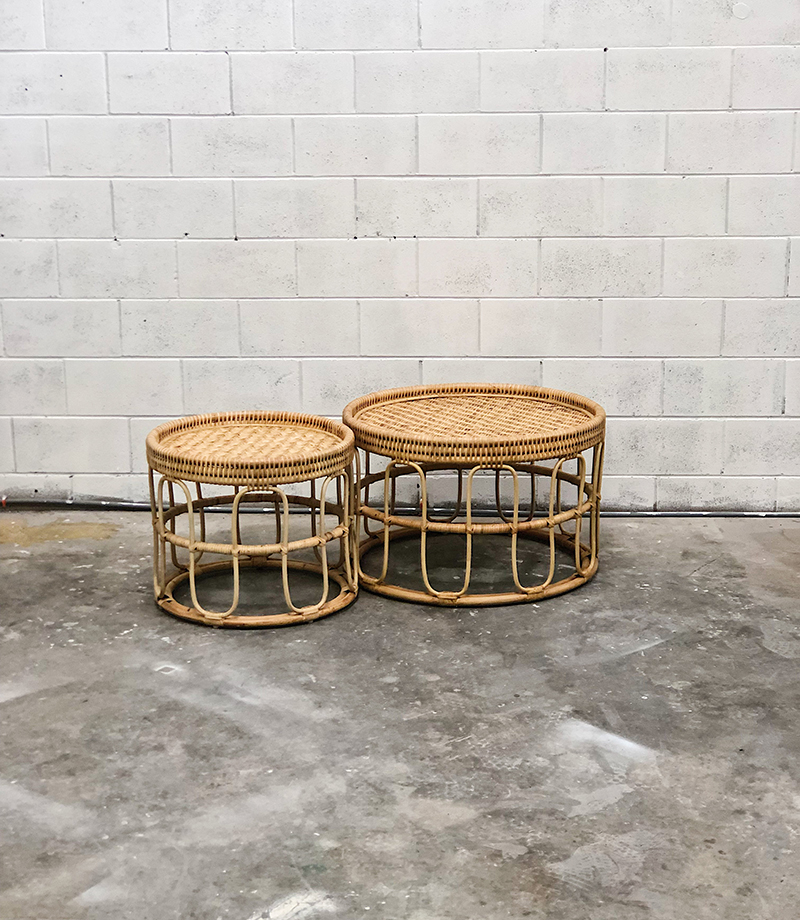 Circular Coffee Table Cane Large Two Foxes Modern